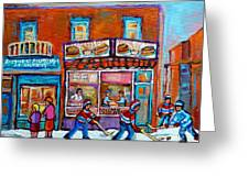 Decarie Hot Dog Restaurant Ville St. Laurent Montreal  Greeting Card