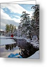 December Afternoon At The Red Boathouse Greeting Card