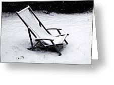 Deck Chair Under The Snow Greeting Card