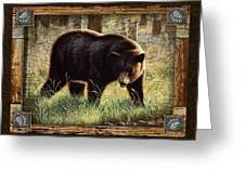 Deco Black Bear Greeting Card