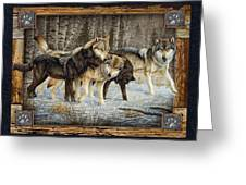 Deco Wolves Greeting Card