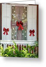 Decorated Christmas Window Key West Greeting Card