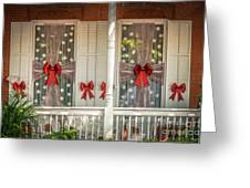 Decorated Christmas Windows Key West - Hdr Style Greeting Card