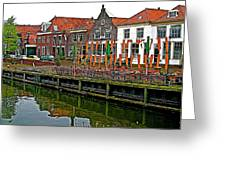 Decorations For Orange Day To Celebrate The Queen's Birthday In Enkhuizen-netherlands Greeting Card