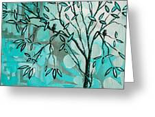 Decorative Abstract Floral Birds Landscape Painting Bird Haven I By Megan Duncanson Greeting Card