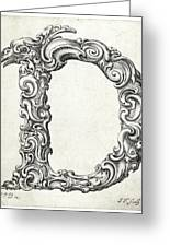 Decorative Letter Type D 1650 Greeting Card