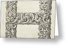 Decorative Letter Type H 1650 Greeting Card