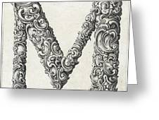Decorative Letter Type M 1650 Greeting Card