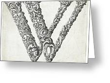 Decorative Letter Type W 1650 Greeting Card