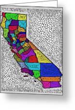 Decorative Map Of California Greeting Card