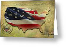 Decorative Map - Usa Greeting Card