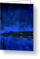 Deep Blue Triptych 2 Of 3 Greeting Card