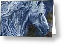 Deep Blue Wild Horse Greeting Card