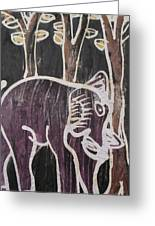 Deep Purple Elephant Painting In The Forest. Greeting Card