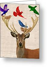 Deer And Birds Nests Greeting Card