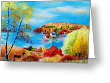 Deer And Country Church Autumn Scene Greeting Card