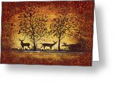 Deer At Sunset On Damask Greeting Card