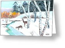Deer Creek In Winter Greeting Card