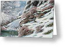 Deer In A Snowy Landscape Greeting Card