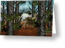 Deer In Pine Forest Greeting Card