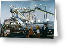 Del Mar Fair At Night Greeting Card by Mary Helmreich