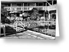 Del Marcos Pool Bw Palm Springs Greeting Card