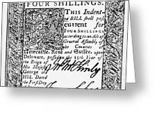 Delaware Banknote, 1776 Greeting Card