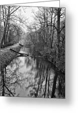 Delaware Canal In Black And White Greeting Card