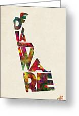 Delaware Typographic Watercolor Map Greeting Card