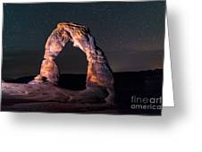 Delicate Arch At Night Against Beautiful Night Sky Greeting Card