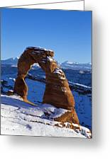 Delicate Arch In Snow Arches National Park Utah Greeting Card