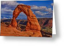 Delicate Arch View Greeting Card by Greg Norrell