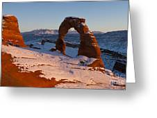 Delicate Arch With Snow At Sunset Arches National Park Utah Greeting Card