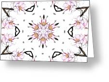Delicate Cherry Blossom Fractal Kaleidoscope Greeting Card