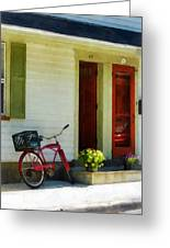 Delivery Bicycle By Two Red Doors Greeting Card