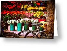 Delivery Bikes At Flower Market Greeting Card