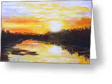 Delta Bayou Sunset Greeting Card