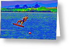 Delta Blue Wind Sailing Greeting Card by Joseph Coulombe