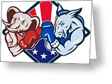 Democrat Donkey Republican Elephant Mascot Boxing Greeting Card by Aloysius Patrimonio