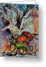 Demon Cats Haunted Greeting Card