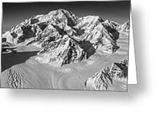 Denali And The Kahiltna Glacier Black And White Greeting Card