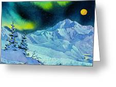 Denali Night In Square Greeting Card