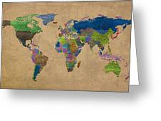 Denim Map Of The World Jeans Texture On Worn Canvas Paper Greeting Card
