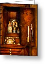 Dentist - The Dental Cabinet Greeting Card by Mike Savad