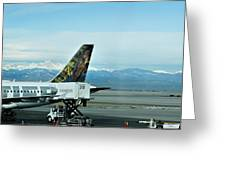 Denver Airport With Rockies In Background Greeting Card