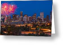 Denver Skyline Fireworks Greeting Card