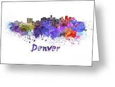 Denver Skyline In Watercolor Greeting Card