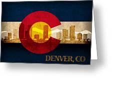 Denver Skyline Silhouette Of Colorado State Flag Canvas Greeting Card