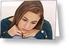 Depressed Teenage Girl Greeting Card by Science Photo Library