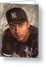 Derek Jeter Greeting Card by Viola El
